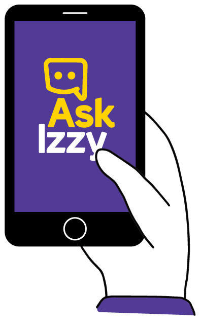 Illustration of Ask Izzy on a phone